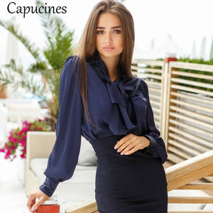 Open image in slideshow, Tie Imitation Silk Blouse