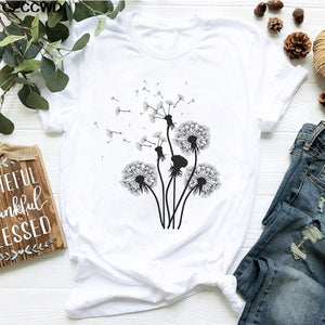 "Open image in slideshow, Casual ""Wildflower Dandelion"" Print T-shirt"