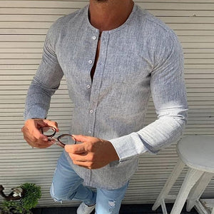 Open image in slideshow, No Collar Long Sleeve Business Shirt