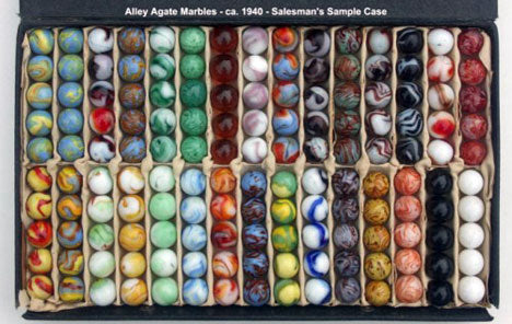 Vintage Agate Marbles - Salesman Sample Case