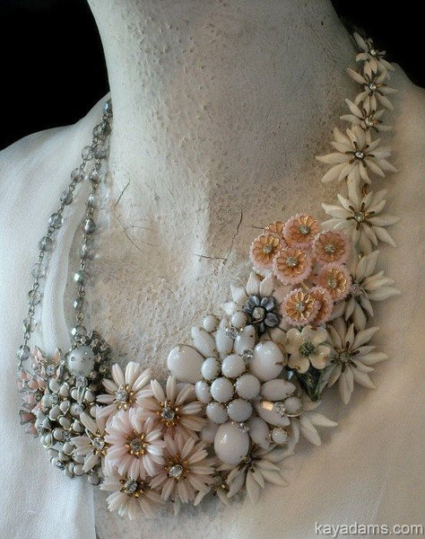 Vintage flower brooch re-purpose necklace