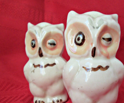 Vintage Owl Salt and Pepper Shakers White Winking Owls