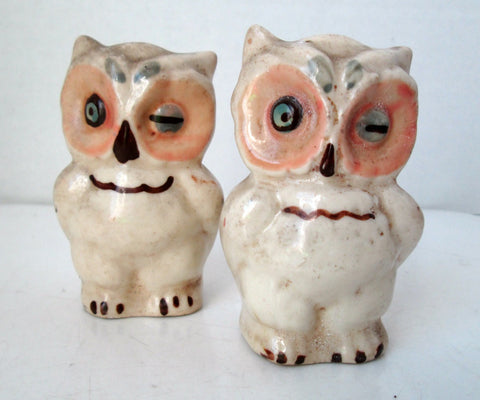 Vintage White Winking Owl Salt and Pepper Shakers