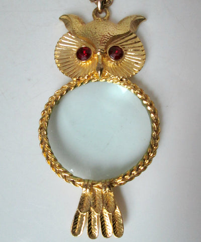 Large Vintage Owl Necklace Magnifying Glass Red Eyes