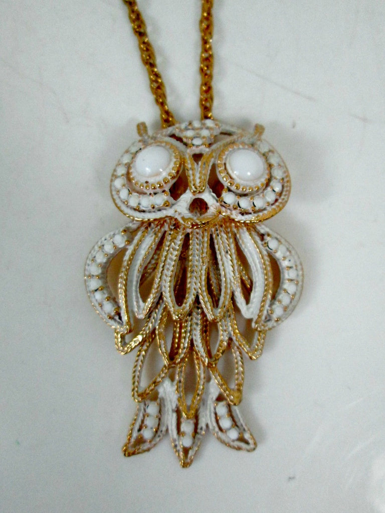 Vintage Layered Owl Necklace White Enamel and Milk Glass