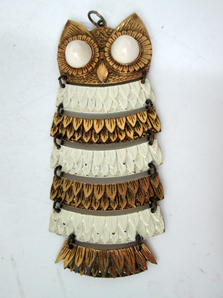 Vintage Owl Necklace Articulated Goldtone and White Enamel
