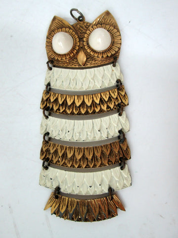 Large Vintage Owl Necklace Articulated Goldtone and White Enamel