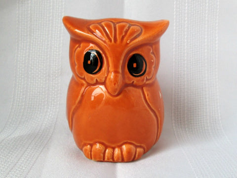 Vintage Owl Container Bright Orange