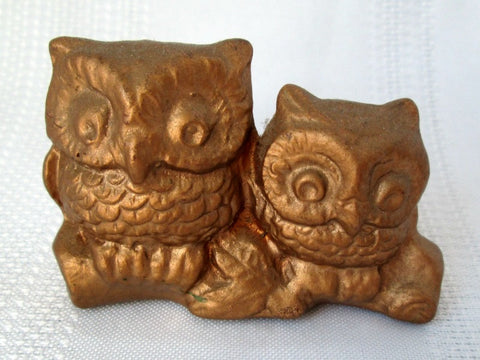 Vintage Owl Figurine Gold Couple on Log