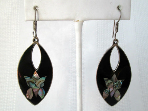 Vintage Inlaid Abalone Alpaca Mexico Dangle Earrings