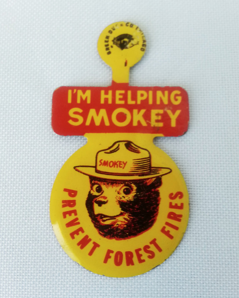 Vintage Smokey the Bear Metal Lapel Badge