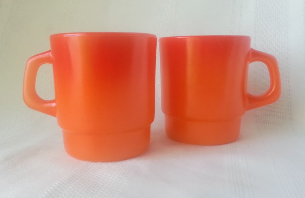 vintage fire king mugs orange
