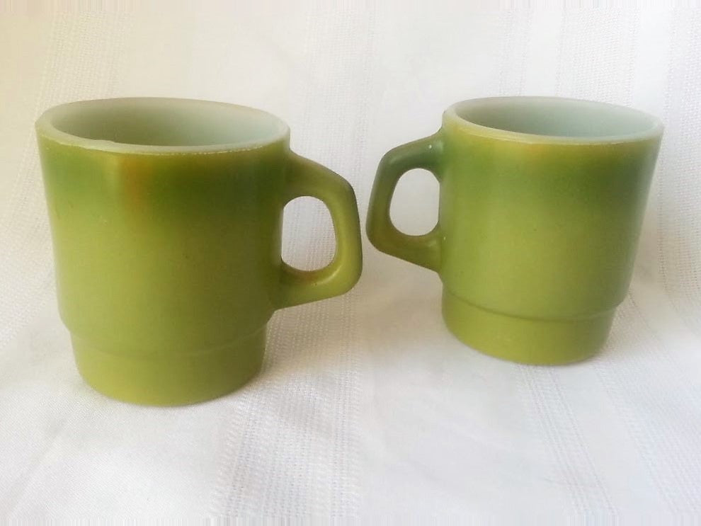 vintage fire king mugs green