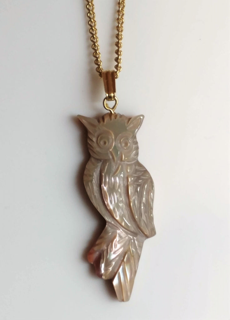 Vintage Owl Necklace Carved Mother of Pearl Shell
