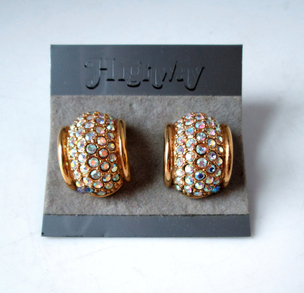 Vintage Earrings Gold-tone Arch AB Rhinestone by Swarovski