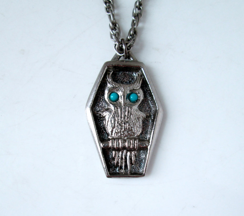 Owl Necklace Silver-tone Turquoise Eyes by J Ritter