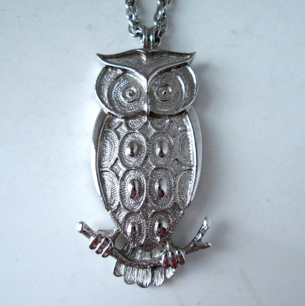 Vintage Owl Necklace Silver Tone Geometric Style by Parklane