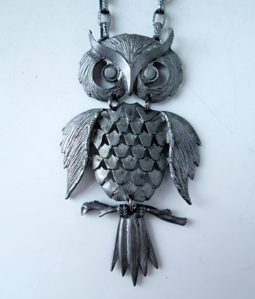 Vintage Owl Necklace Articulated Pewter Tone