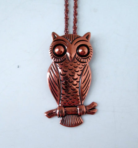 Vintage Owl Necklace Copper