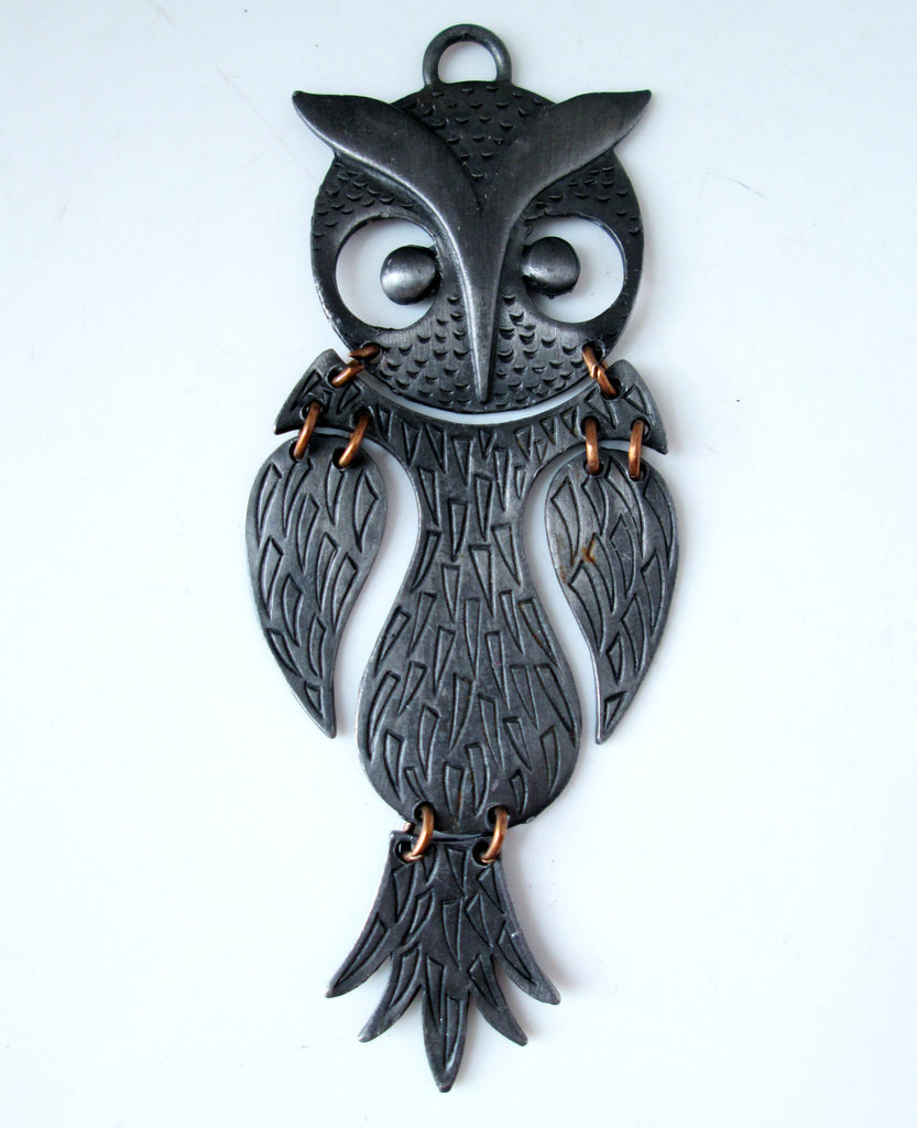 Vintage Owl Necklace Articulated Pewter Tone Modern Abstract Design