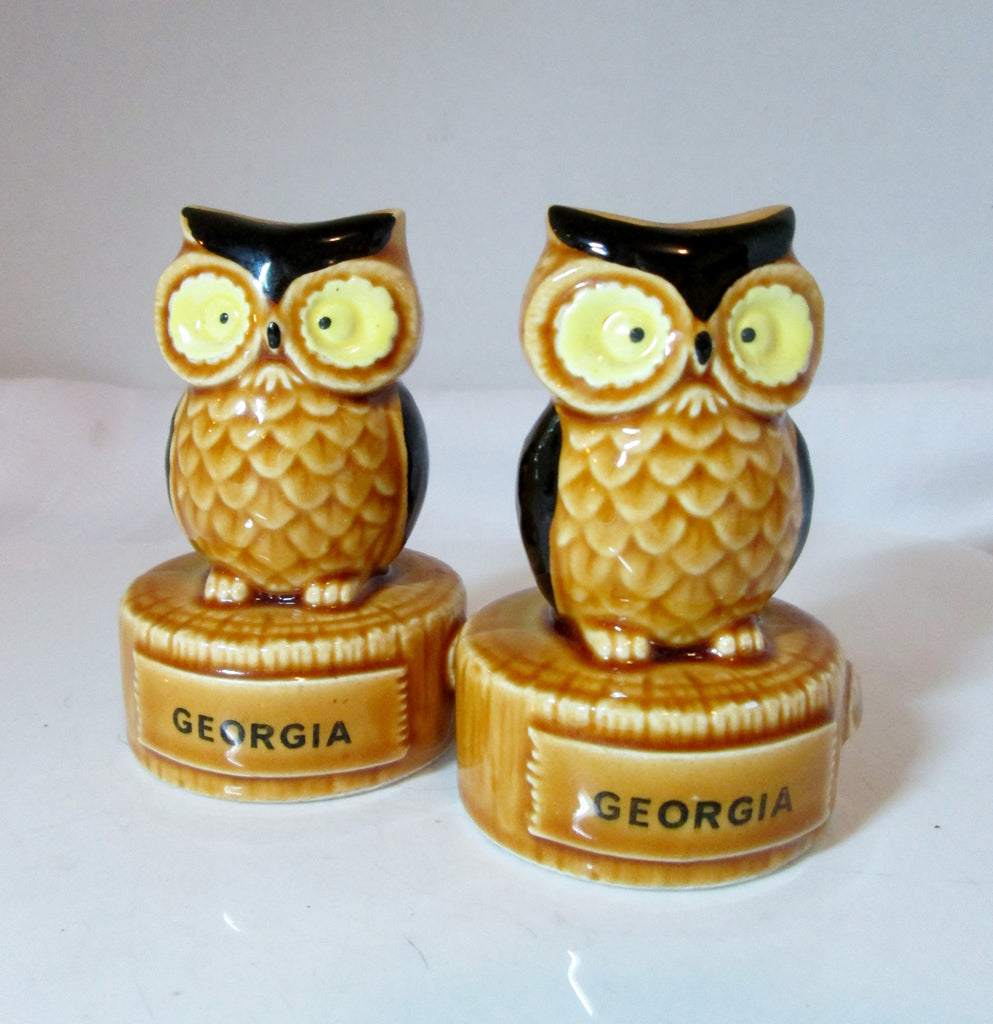 Vintage Owl Salt and Pepper Shakers Souvenir Georgia