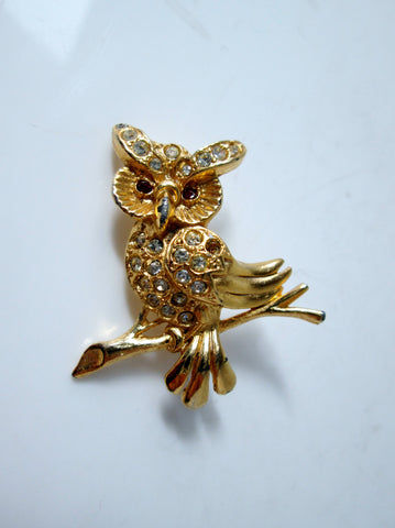 Vintage Owl Brooch on Branch Gold-tone Rhinestone Red Eyes