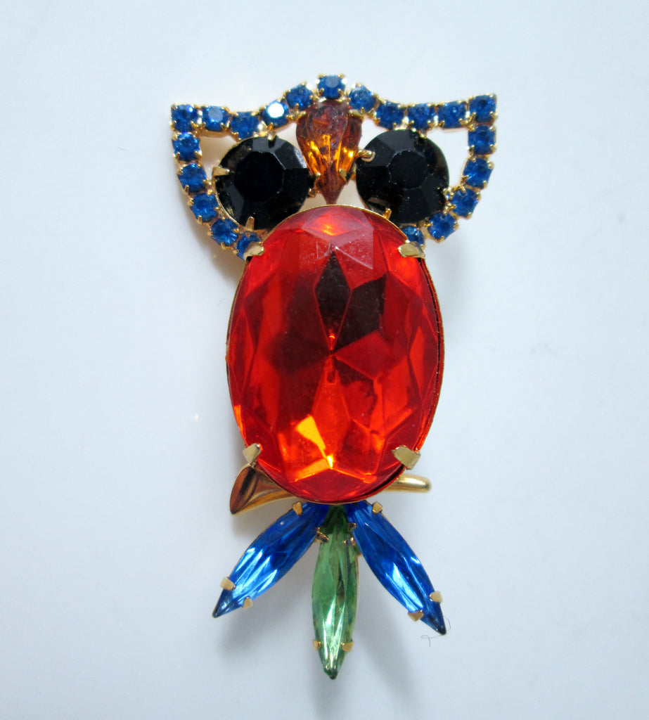 Vintage Owl Brooch Gold-tone Multicolored Rhinestones