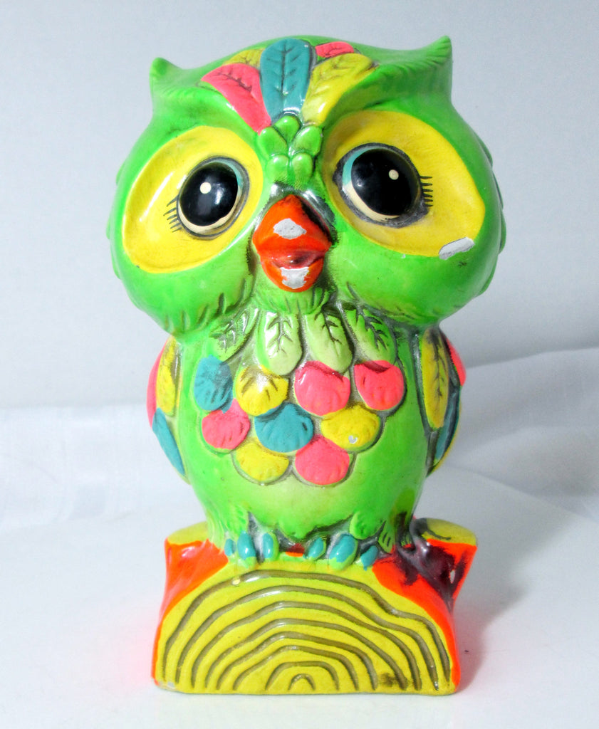 Vintage Owl Bank Paper Mache Bright Green by Holiday 1968