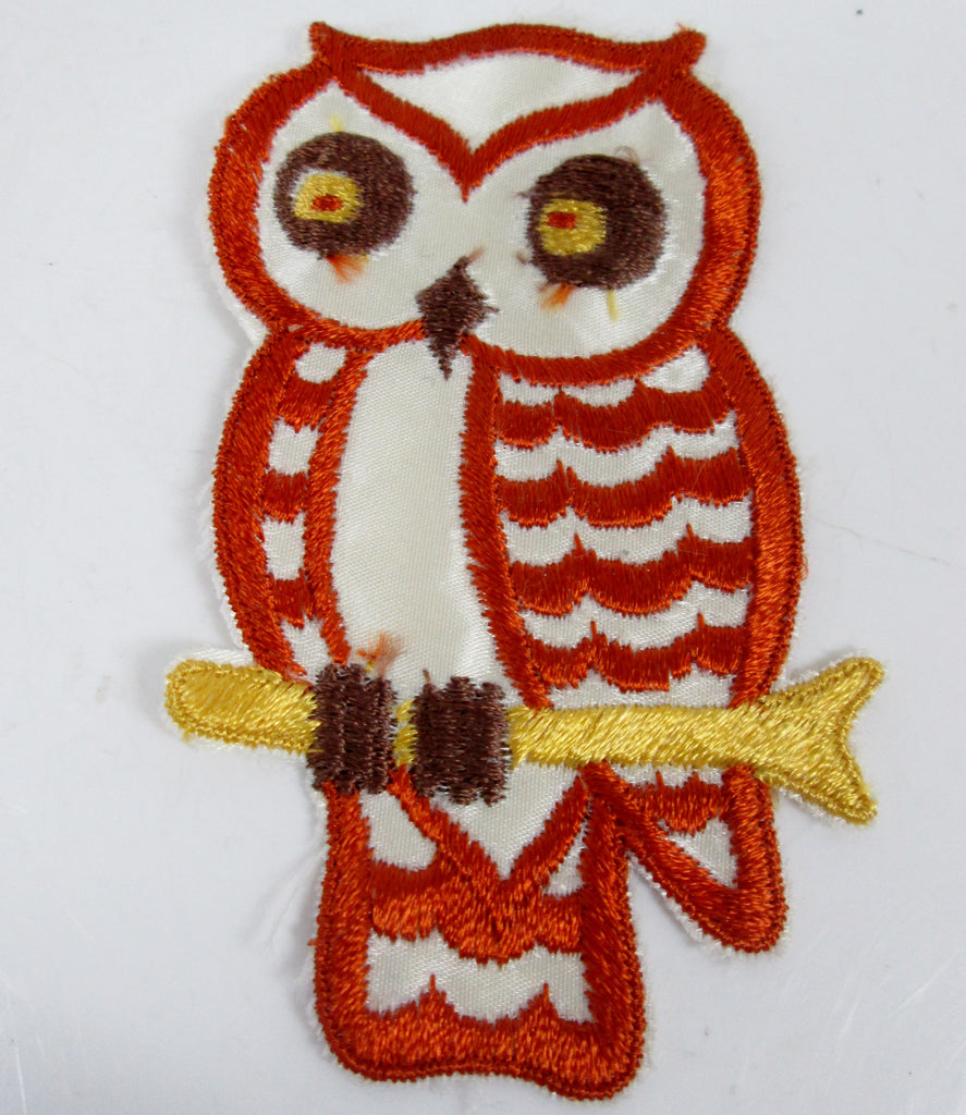 Large Vintage Embroidered Owl Sew On Patch Orange Brown and Yellow