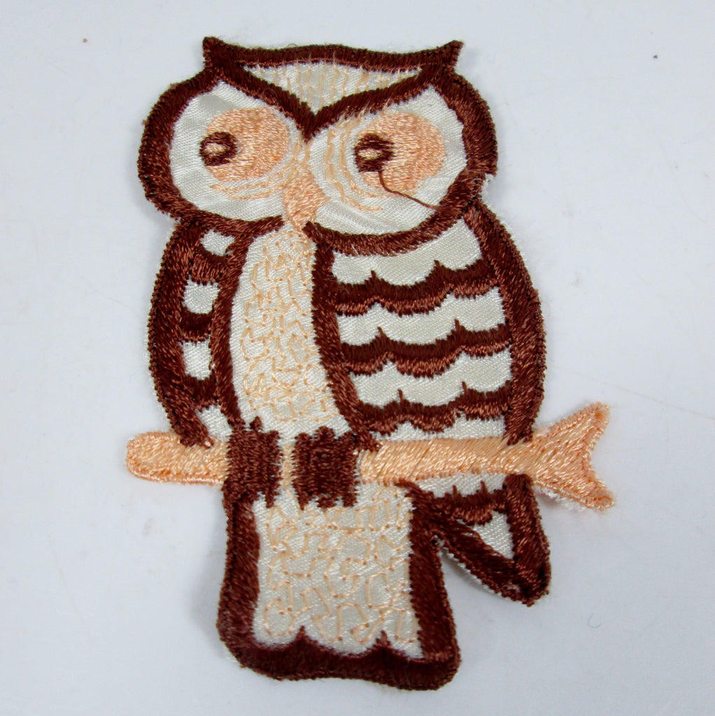 Large Vintage Embroidered Owl Sew On Patch Brown and Peach