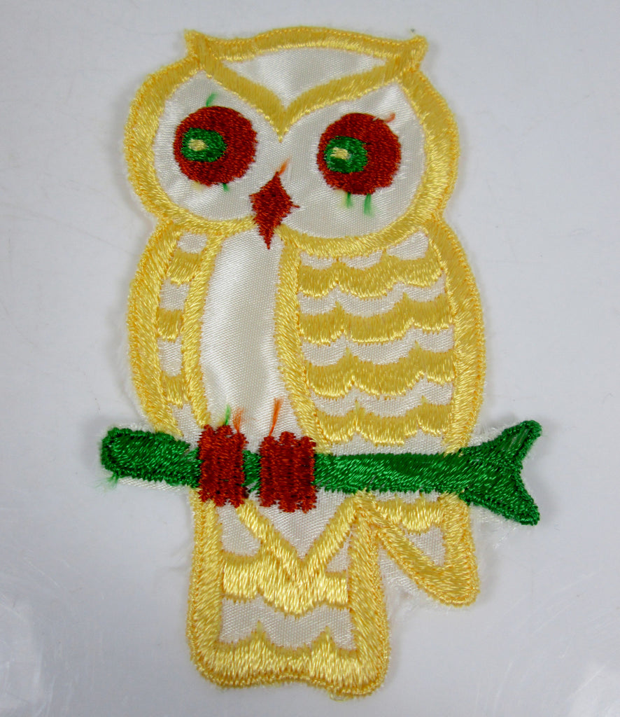 Large Vintage Embroidered Owl Sew On Patch Yellow Orange and Green