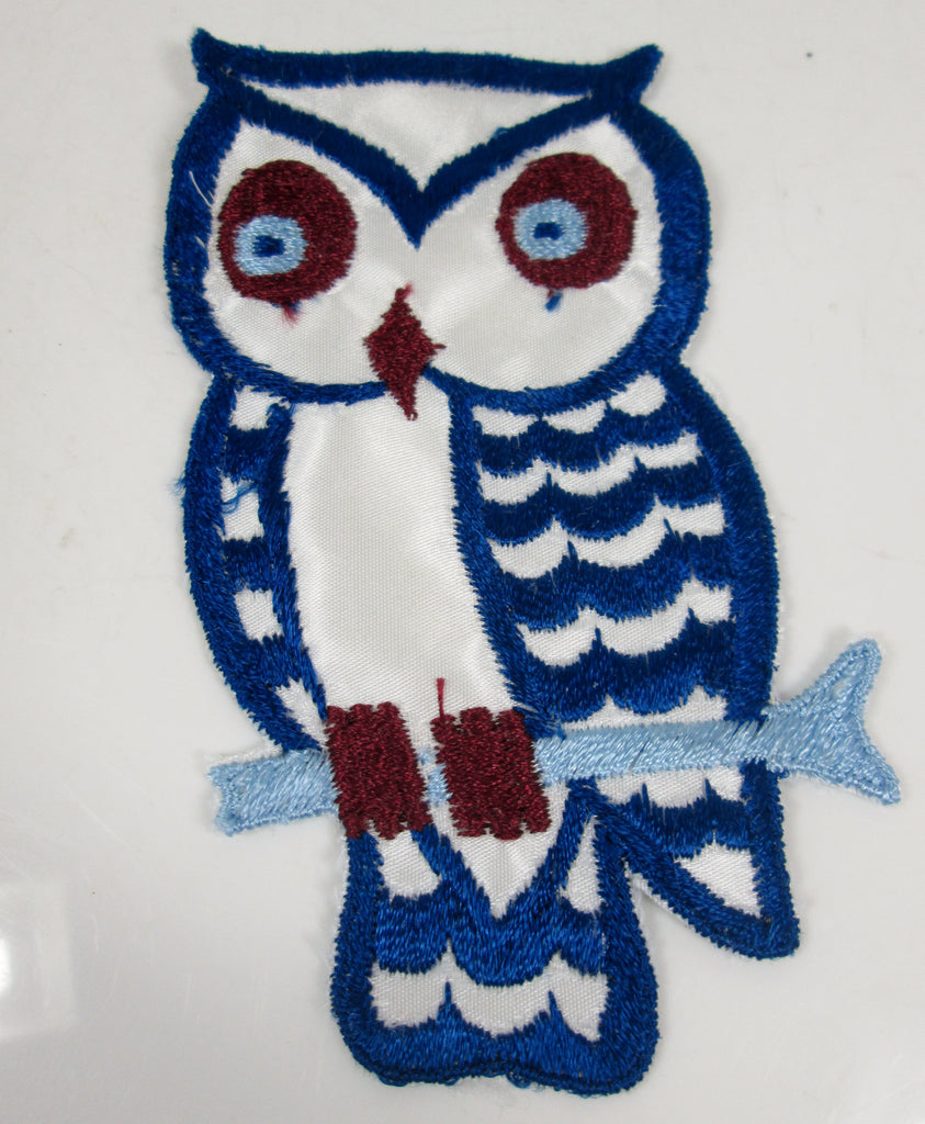XL Vintage Embroidered Owl Sew On Patch Blue and Maroon