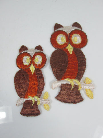 XL Vintage Embroidered Owl Sew On Patch Set of 2 Brown and Orange