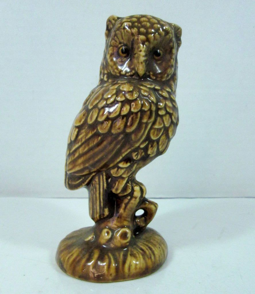 Vintage Owl Figurine Perched Glazed Brown