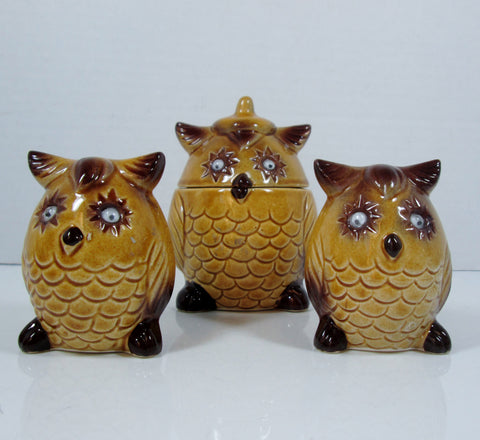 Vintage Owl Salt and Pepper set with Matching Sugar Bowl Yellow