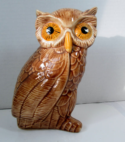 Vintage Owl Figurine Glossy Tan Body with Yellow Eyes