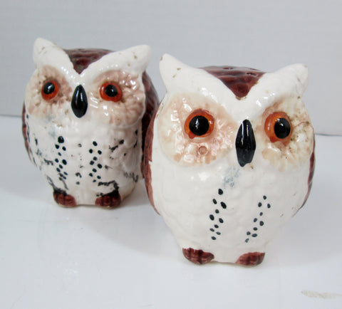 Vintage Owl Salt and Pepper Shakers - Brown and White