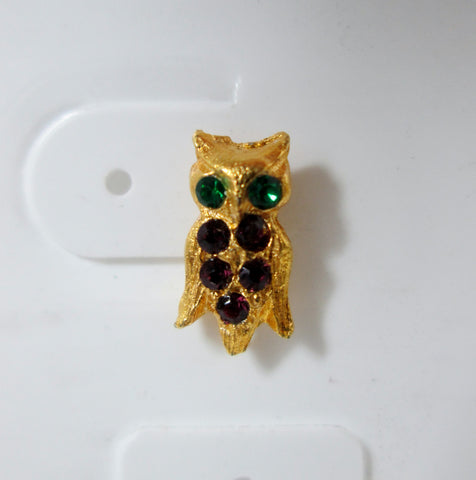 Vintage Owl Earrings Gold-tone Green and Purple Rhinestones