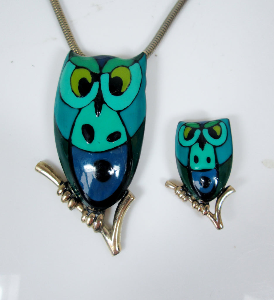 Eisenberg Enamel Owl Necklace and Brooch