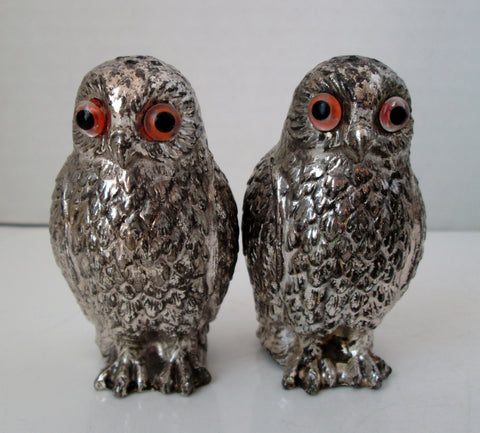 Vintage Owl Salt and Pepper Shakers Heavy Metal Silver Tone