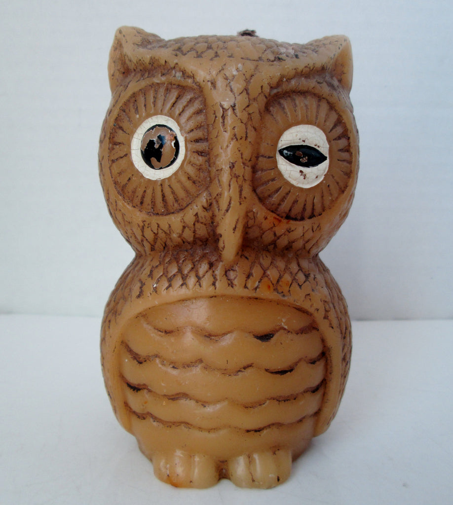 Vintage Owl Tan Candle Hand Painted Animal Delights