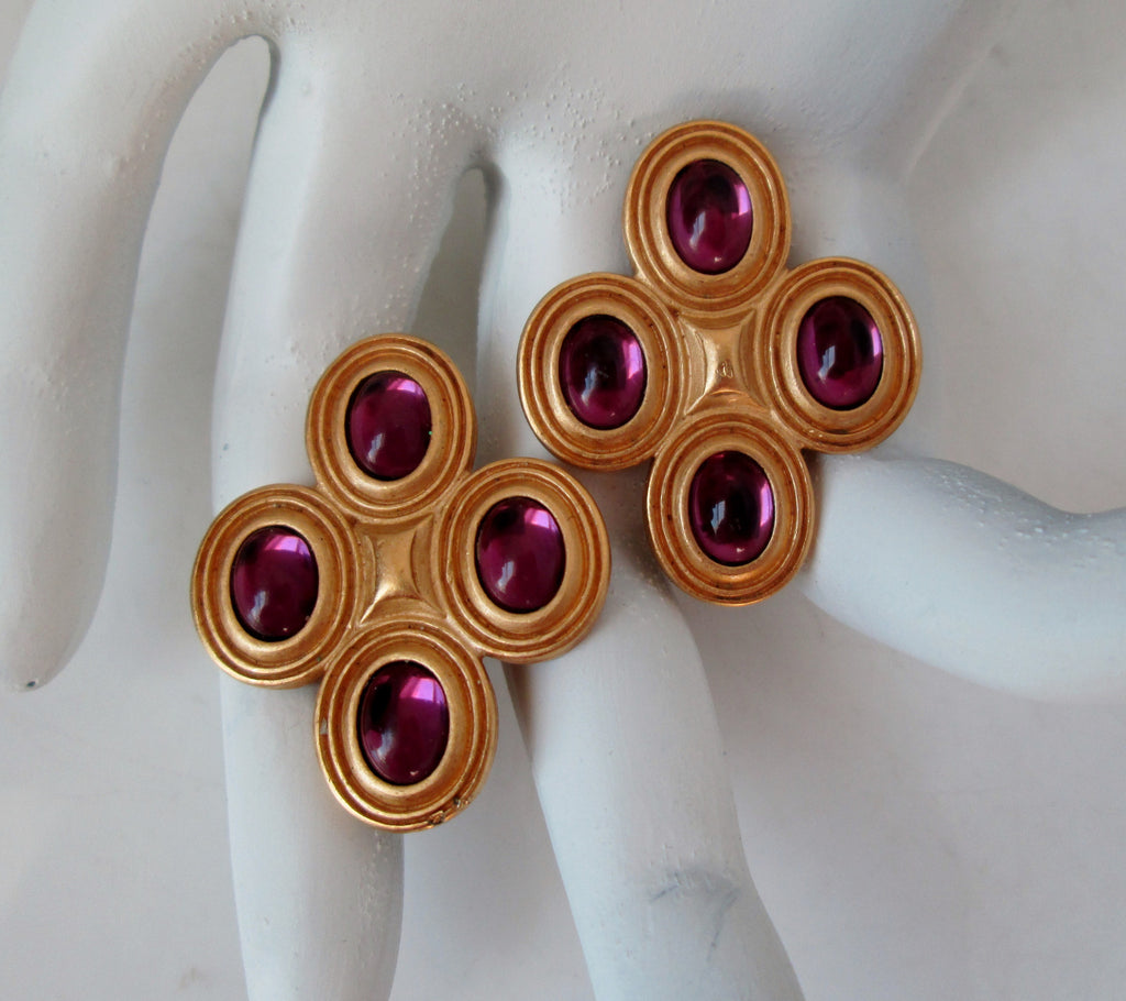 Vintage Gold-tone Clip On Earrings Purple Cabochon by Monet