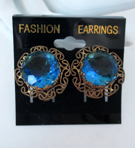 Vintage Blue Rhinestone Clip on Earrings Gold-tone Filigree West Germany