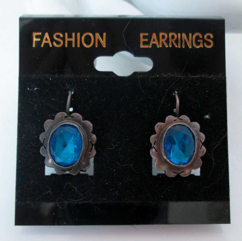Vintage Blue Rhinestone Dangle Earrings Silver-tone Filigree