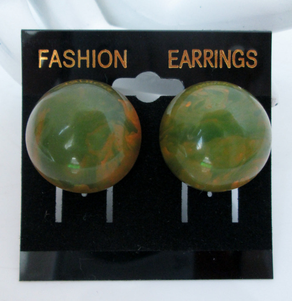 Vintage Clip On Earrings Avacado Green and Yellow Marbled