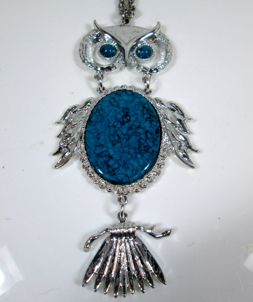 Vintage Owl Necklace Articulated Faux Turquoise Bright Silver Tone