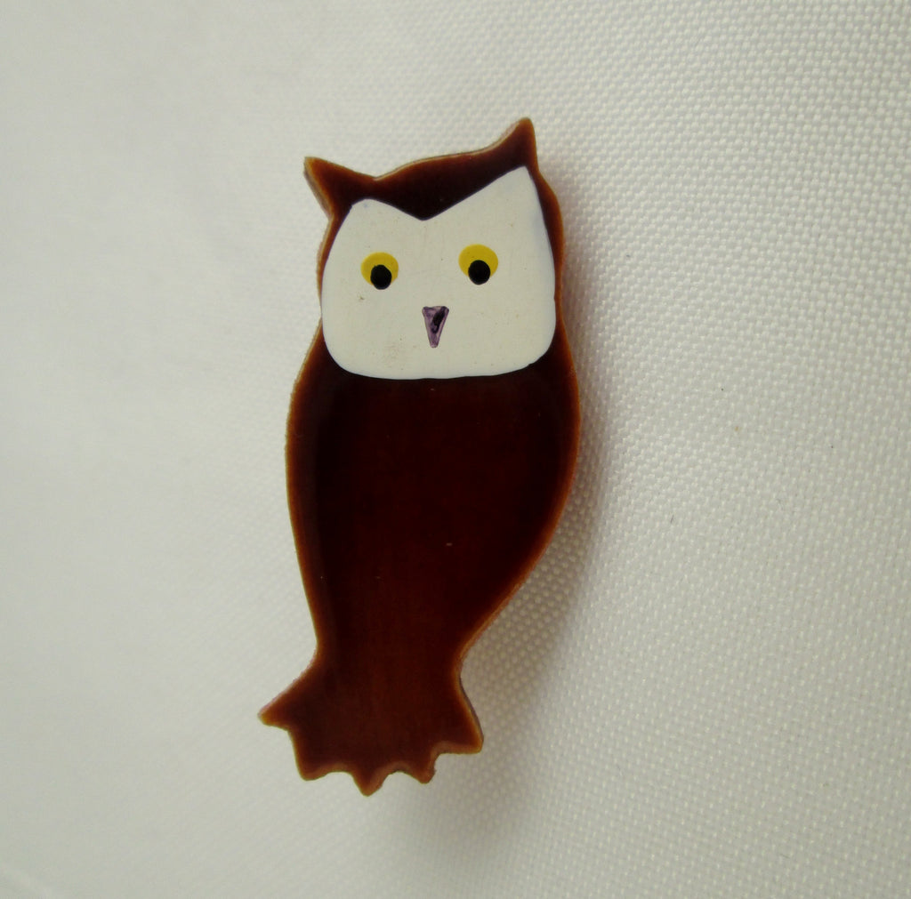 Vintage Owl Pin Hand Painted Wood Brown