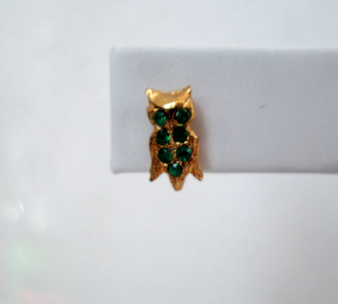 Vintage Owl Earrings Gold-tone Green Rhinestones