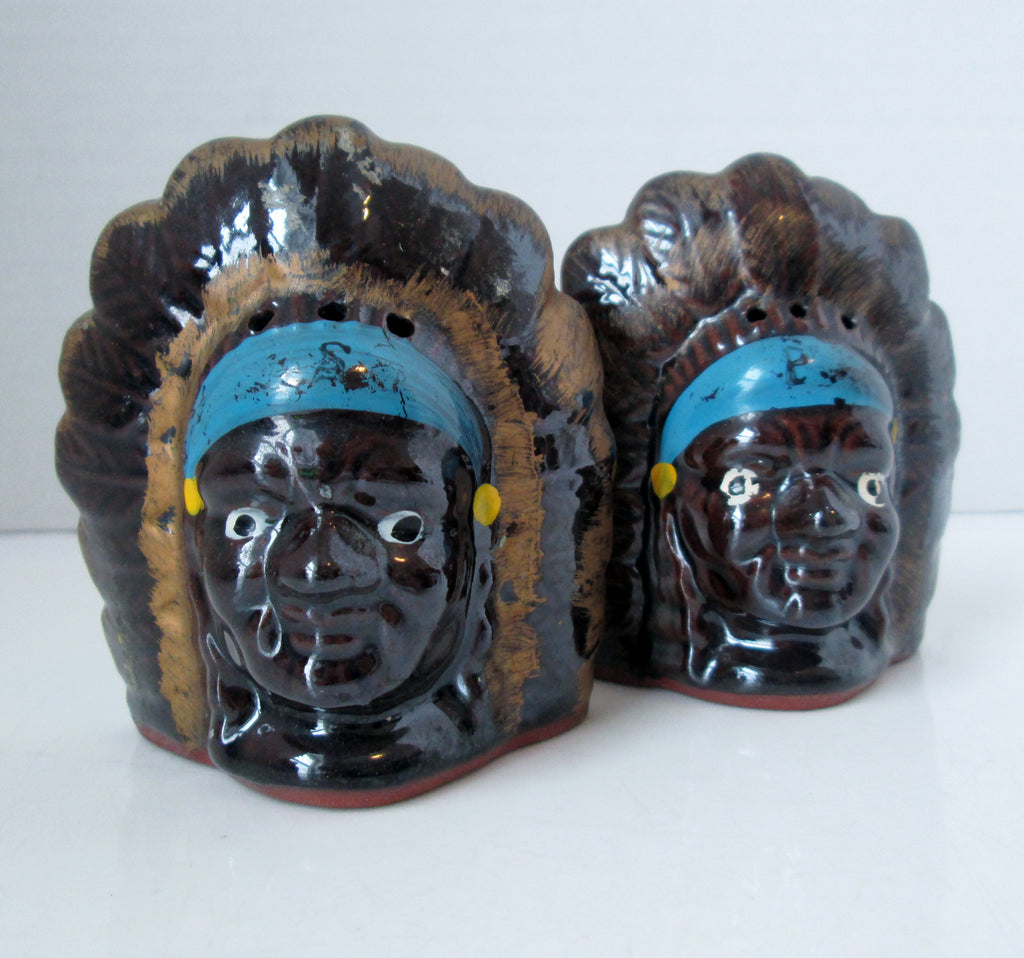 Vintage American Indian Chief Salt and Pepper Shakers Terracotta