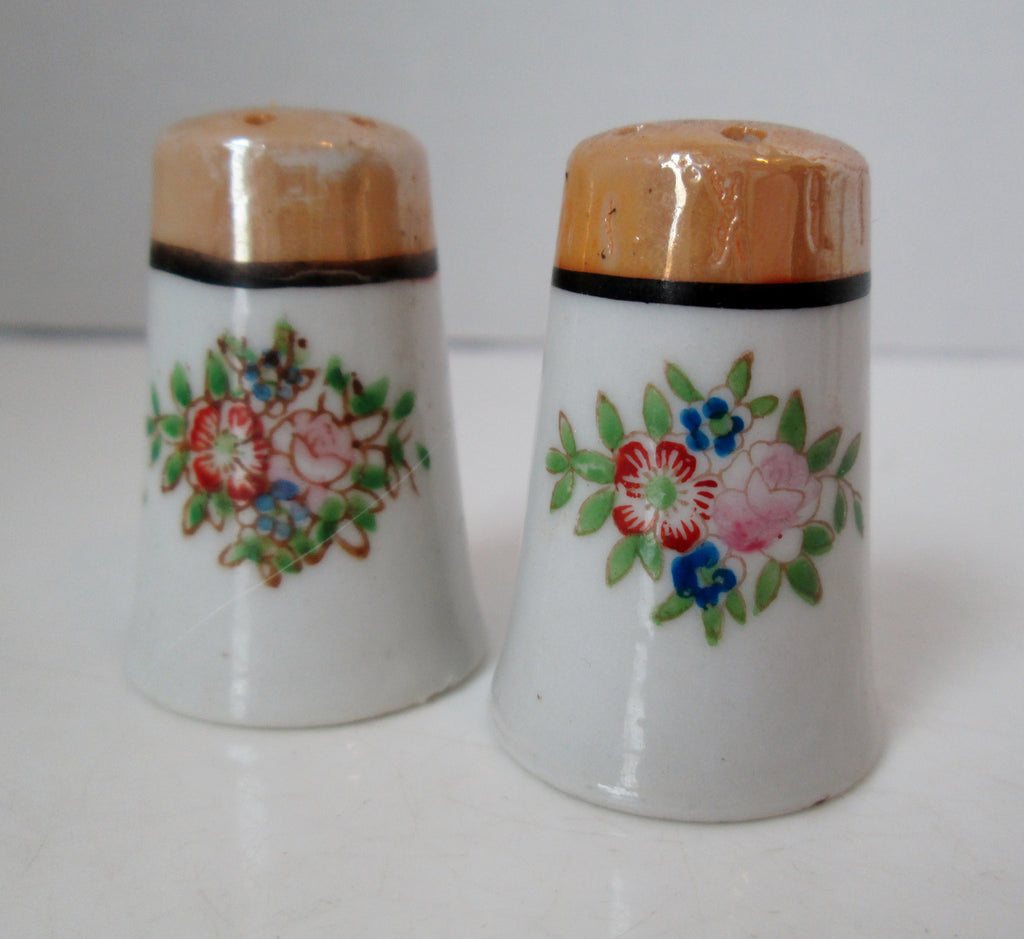 Vintage Mini Luster Ware Salt And Pepper Shakers Floral
